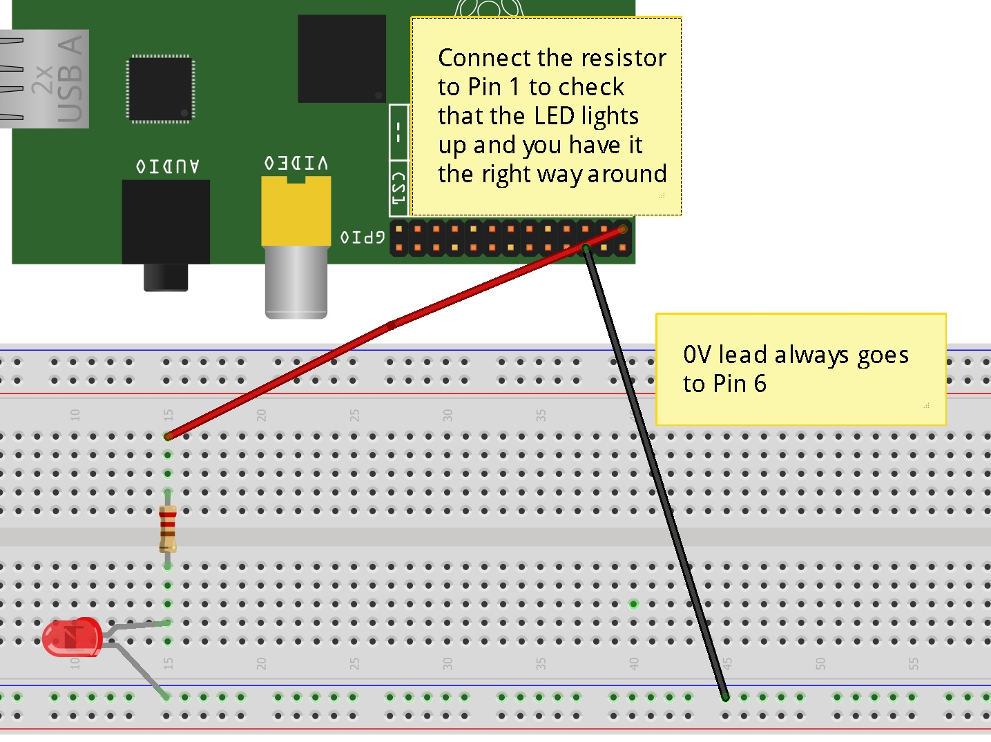 Scratchgpio Introduction For Beginners Cymplecy Simplesi Leds In Parallel Resistor Circuit If It Doesnt Try Reversing Your Led Now Move The Lead From Pin 1 To 11